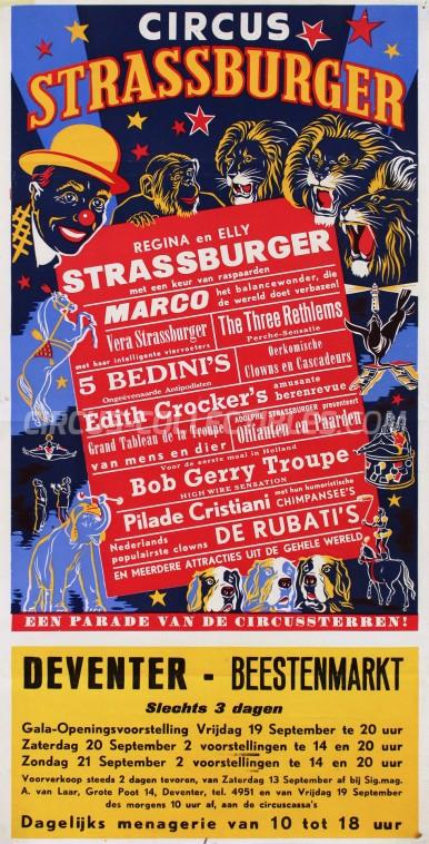 Strassburger Circus Poster - Netherlands, 1958