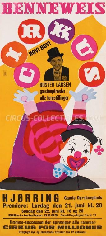 Benneweis Circus Poster - Denmark, 1969
