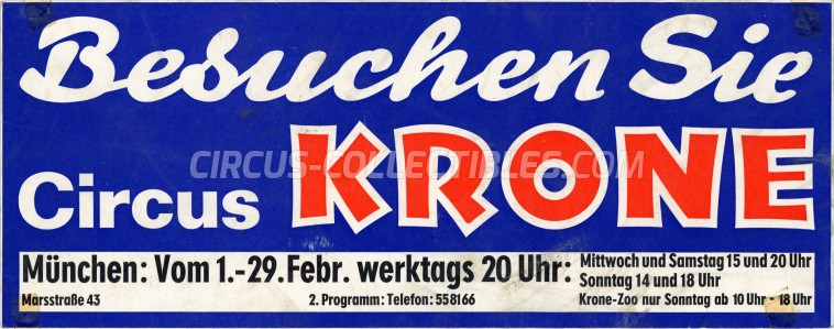 Krone Circus Poster - Germany, 1972