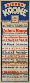 Circus Krone Circus poster - Germany, 1948