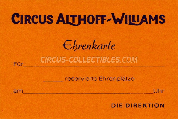 Althoff-Williams Circus Ticket/Flyer -  0