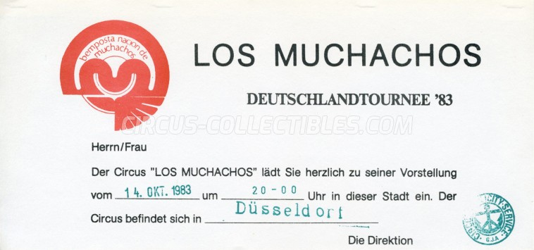 Los Muchachos Circus Ticket/Flyer - Germany 1983