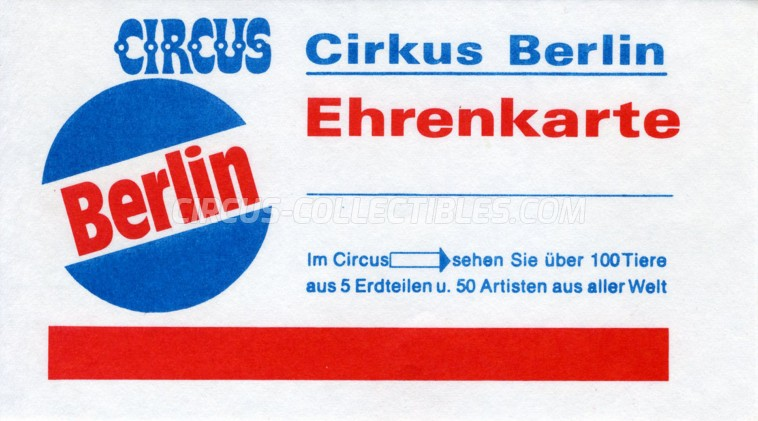Berlin Circus Ticket/Flyer -  0