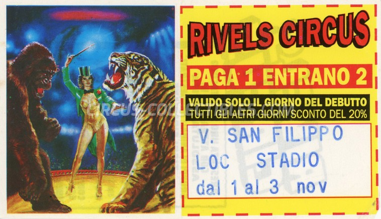Rivels Circus Circus Ticket/Flyer - Italy 0