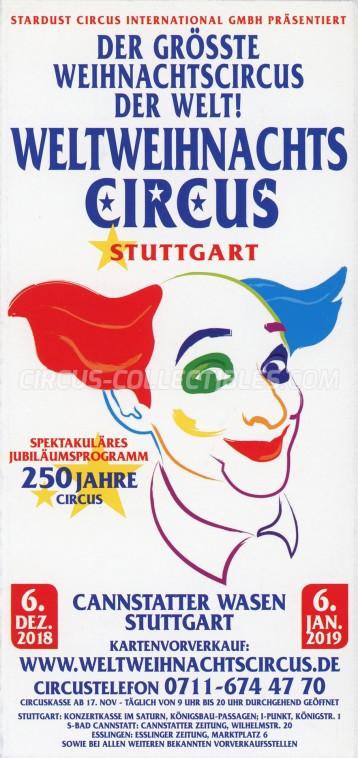 Weltweihnachts Circus Stuttgart Circus Ticket/Flyer - Germany 2018