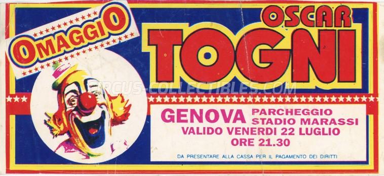 Oscar Togni Circus Ticket/Flyer - Italy 1994