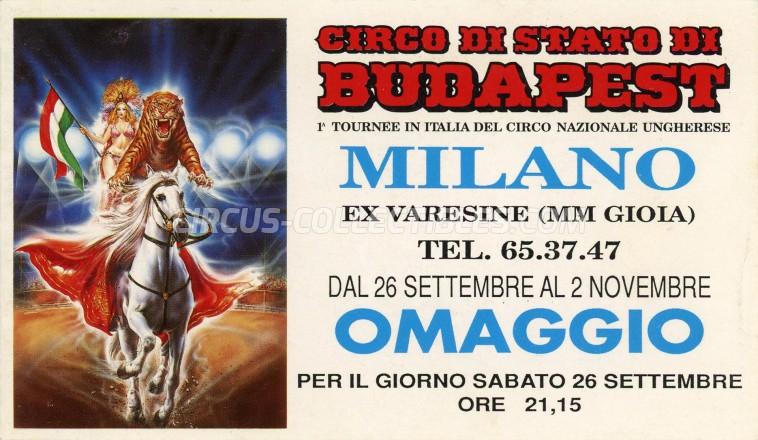 Circo di Stato di Budapest Circus Ticket/Flyer - Italy 1992
