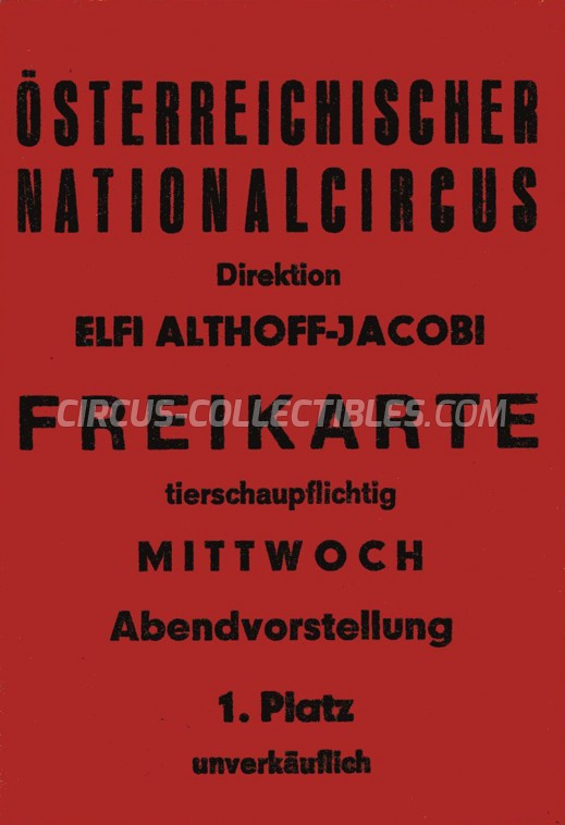 Elfi Althoff-Jacobi Circus Ticket/Flyer -  0
