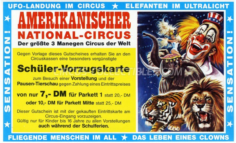 American Circus Circus Ticket/Flyer - Germany 1989