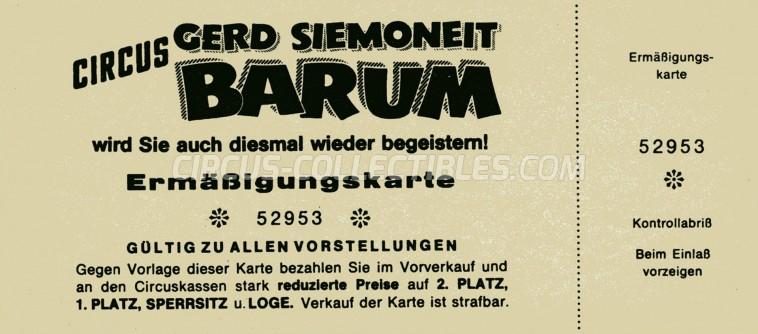 Barum Circus Ticket/Flyer -  0