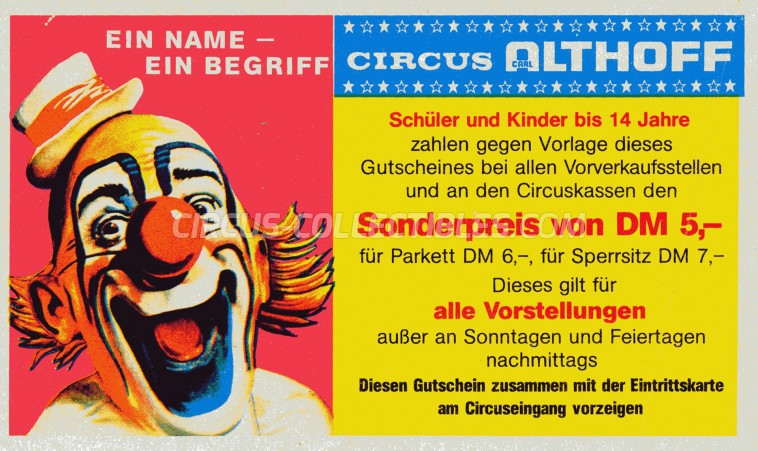 Carl Althoff Circus Ticket/Flyer -  0
