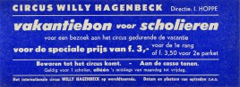 Circus Willy Hagenbeck Circus Ticket - 1967