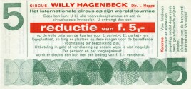 Circus Willy Hagenbeck Circus Ticket - 1972