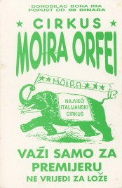Cirkus Moira Orfei Circus Ticket - 1991