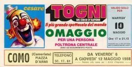 Circo Cesare Togni Circus Ticket - 1988