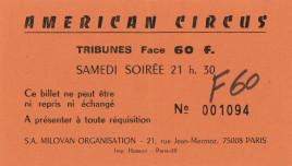 American Circus Circus Ticket - 1980