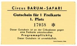 Circus Barum-Safari Circus Ticket - 1970
